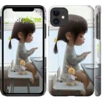 Чехол для iPhone 11 Милая девочка с зайчиком 4039m-1722
