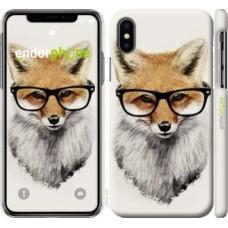 Чехол для iPhone X Лис в очках 2707m-1050