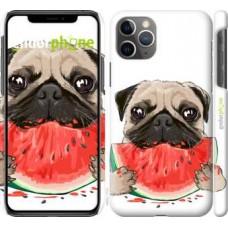 Чехол для iPhone 11 Pro Max Мопс и арбуз 4665m-1723