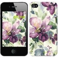 Чехол для iPhone 4s Цветы акварелью 2237c-12