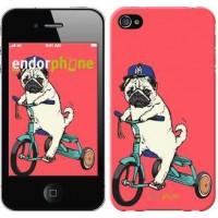 Чехол для iPhone 4s Мопс на велосипеде 3072c-12
