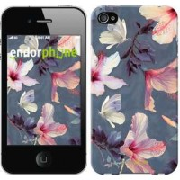 Чехол для iPhone 4 Нарисованные цветы 2714c-15