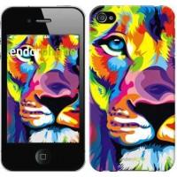 Чехол для iPhone 4 Разноцветный лев 2713c-15