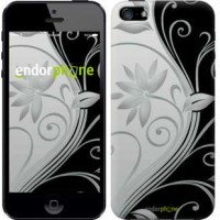 Чехол для iPhone 5s Цветы на чёрно-белом фоне 840c-21