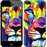 Чехол для iPhone 5 Разноцветный лев 2713c-18