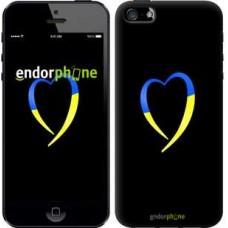 Чехол для iPhone 5 Жёлто-голубое сердце 885c-18
