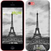 Чехол для iPhone 5c Чёрно-белая Эйфелева башня 842c-23