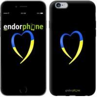 Чехол для iPhone 6 Plus Жёлто-голубое сердце 885c-48