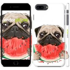 Чехол для iPhone 8 Plus Мопс и арбуз 4665m-1032
