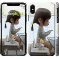 Чехол для iPhone XS Милая девочка с зайчиком 4039m-1583