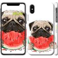 Чехол для iPhone XS Мопс и арбуз 4665m-1583