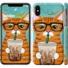 Чехол для iPhone XS Зеленоглазый кот в очках 4054m-1583