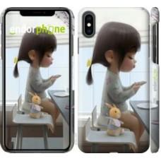 Чехол для iPhone XS Max Милая девочка с зайчиком 4039m-1557