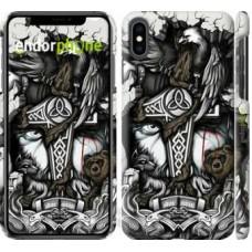 Чехол для iPhone XS Max Тату Викинг 4098m-1557