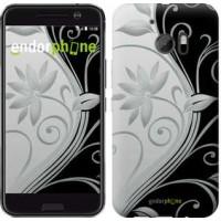 Чехол для HTC 10 Цветы на чёрно-белом фоне 840m-464