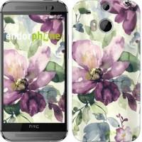 Чехол для HTC One M8 Цветы акварелью 2237c-30