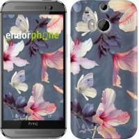 Чехол для HTC One M8 Нарисованные цветы 2714c-30