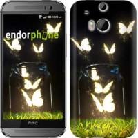 Чехол для HTC One M8 Светящиеся бабочки 2983c-30