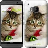 Чехол для HTC One M9 Новогодний котёнок в шапке 494u-129
