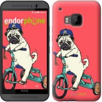 Чехол для HTC One M9 Мопс на велосипеде 3072u-129