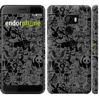 Чехол для HTC One X10 Чёрно-серый стикер бомбинг 2432m-995