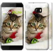 Чехол для HTC One X10 Новогодний котёнок в шапке 494m-995