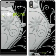 Чехол для Huawei Ascend P6 Цветы на чёрно-белом фоне 840c-39