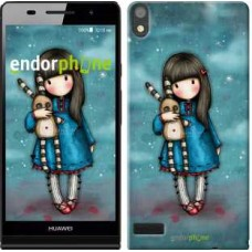 Чехол для Huawei Ascend P6 Девочка с зайчиком 915c-39