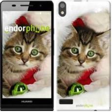 Чехол для Huawei Ascend P6 Новогодний котёнок в шапке 494c-39