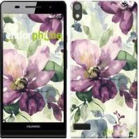 Чехол для Huawei Ascend P6 Цветы акварелью 2237c-39