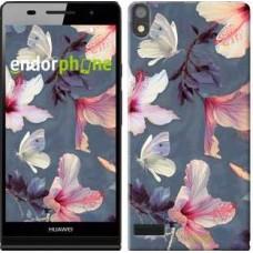 Чехол для Huawei Ascend P6 Нарисованные цветы 2714c-39