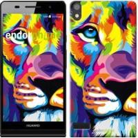 Чехол для Huawei Ascend P6 Разноцветный лев 2713c-39