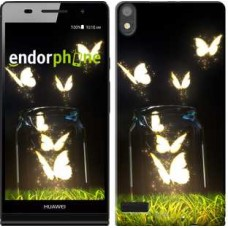 Чехол для Huawei Ascend P6 Светящиеся бабочки 2983c-39