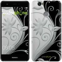 Чехол для Huawei Nova Цветы на чёрно-белом фоне 840m-439