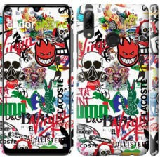 Чехол для Huawei P Smart 2019 Many different logos 4022m-1634