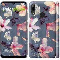 Чехол для Huawei P Smart 2019 Нарисованные цветы 2714m-1634