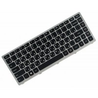 Клавиатура для ноутбука Lenovo Ideapad S300, S310, S400, S400T, S400U, S405, S410, S415, S435, M30-70, S40-70 RU, Black, Silver Frame (25213422)