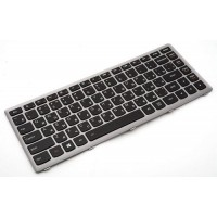 Клавиатура для ноутбука Lenovo IdeaPad Z400 RU, Silver Frame, Black, Backlight (9Z.N7GBC.U0R)