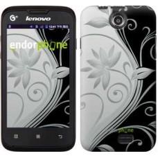 Чехол для Lenovo A300 Цветы на чёрно-белом фоне 840u-229
