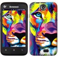Чехол для Lenovo A300 Разноцветный лев 2713u-229
