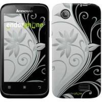 Чехол для Lenovo A369i Цветы на чёрно-белом фоне 840u-291