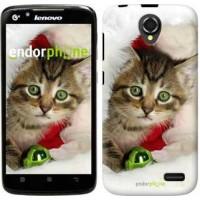 Чехол для Lenovo A388t Новогодний котёнок в шапке 494u-285