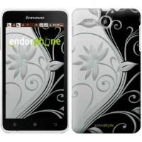 Чехол для Lenovo A529 Цветы на чёрно-белом фоне 840u-200