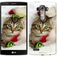 Чехол для LG G4 H815 Новогодний котёнок в шапке 494u-118
