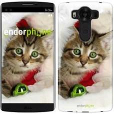 Чехол для LG V10 H962 Новогодний котёнок в шапке 494u-370