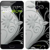 Чехол для Meizu M3e Цветы на чёрно-белом фоне 840u-607