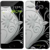 Чехол для Meizu M3s Цветы на чёрно-белом фоне 840u-943