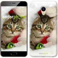 Чехол для Meizu M5 Новогодний котёнок в шапке 494u-420