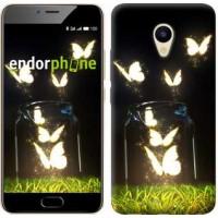 Чехол для Meizu M5 Светящиеся бабочки 2983u-420