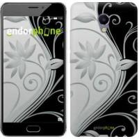 Чехол для Meizu M5 Note Цветы на чёрно-белом фоне 840u-447